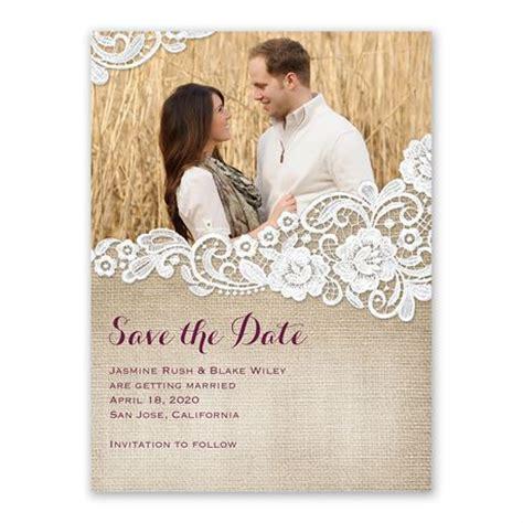 burlap  lace save  date card anns bridal bargains