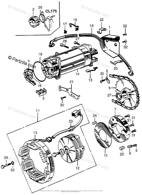 honda motorcycle with no year oem parts diagram for alternator starter motor