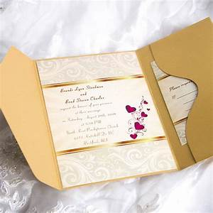 elegant gold damask and red hearts pocket wedding With elegant wedding invitations with pockets