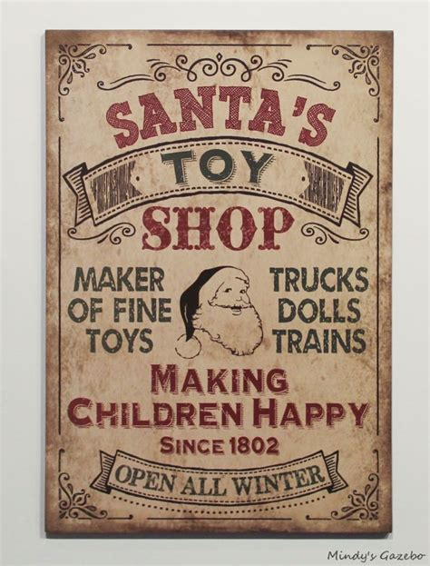 Toy Store Sign Template by Vintage Santas Toy Shop Sign Primitive Country Christmas