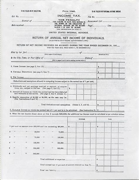 copy of irs tax form 1040 for 1913 income tax 4 pages ebay