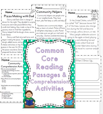 common core reading passages comprehension activities