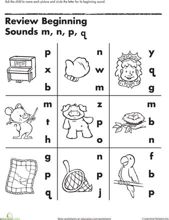 review beginning sounds worksheets phonics and kindergarten