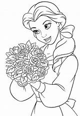 Belle Coloring Princess Disney Pages Flowers Drawing Flower Princesses Carry Drawings Bell Printable Sheet Christmas Glitter Getcolorings Discover sketch template