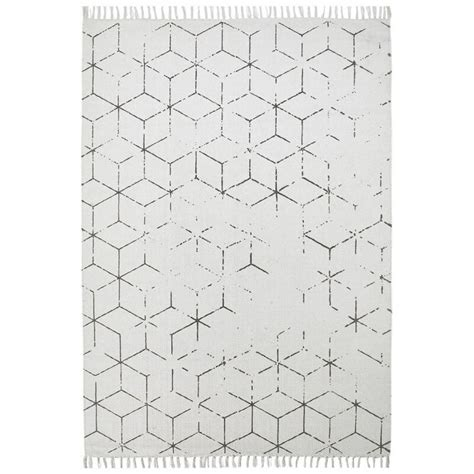 tapis geometrique vintage plat gris thor