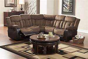 Small reclining sectional sofas recliner sectional sofa for Small scale sectional sofa recliner
