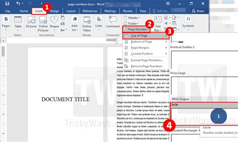 add page numbers starting from specific page in word document