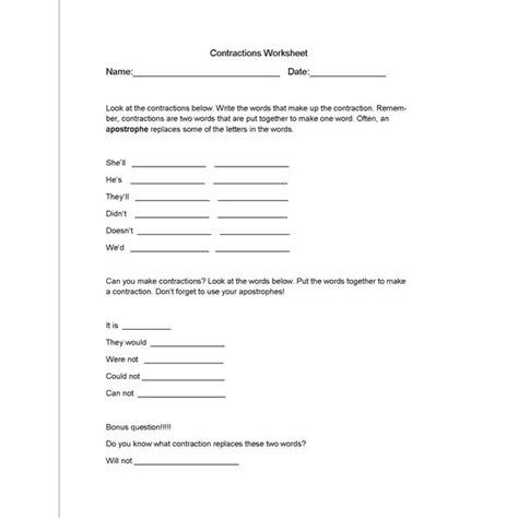 Contractions Worksheet And Lesson Plan