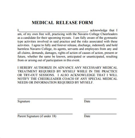 notarized medical release form 11 medical release forms sle templates