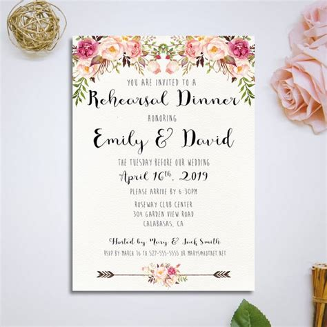 Printable Rehearsal Dinner Invitation Wedding Rehearsal