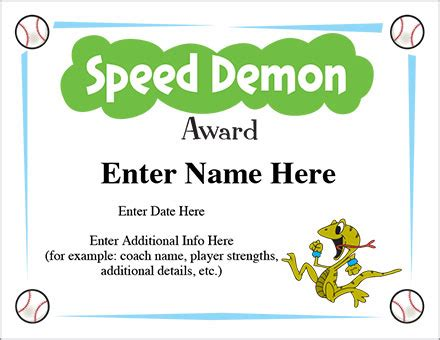 speed demon award certificate template baseball