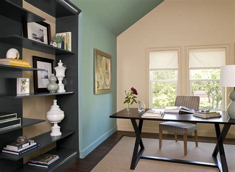 Cozy Home Office With Blue Paint Color Scheme, Love These
