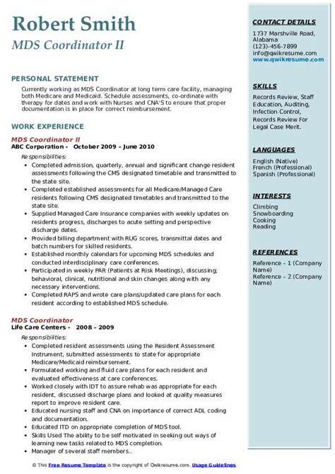 mds coordinator resume samples qwikresume