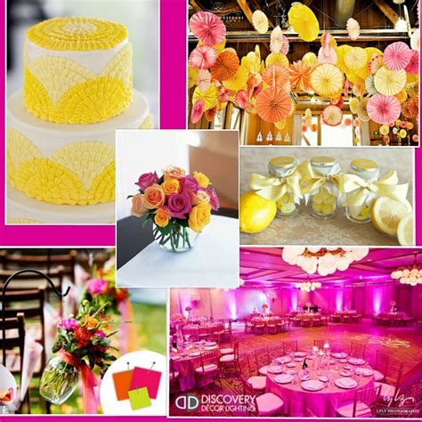 wedding ideas hot pink yellow and white wedding