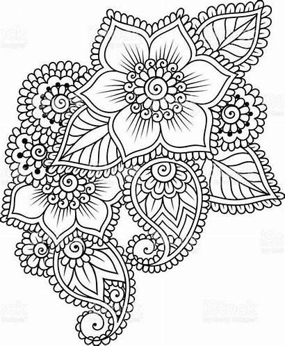 Flower Henna Mandala Mandalas Flores Mehndi Coloring