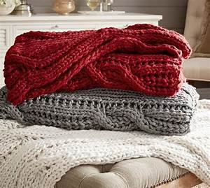 Chunky cable handknit throw pottery barn for Chunky knit blanket pottery barn