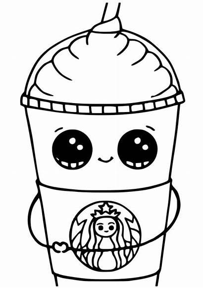 Kawaii Coloring Starbucks Pages Printable Sheets Cups