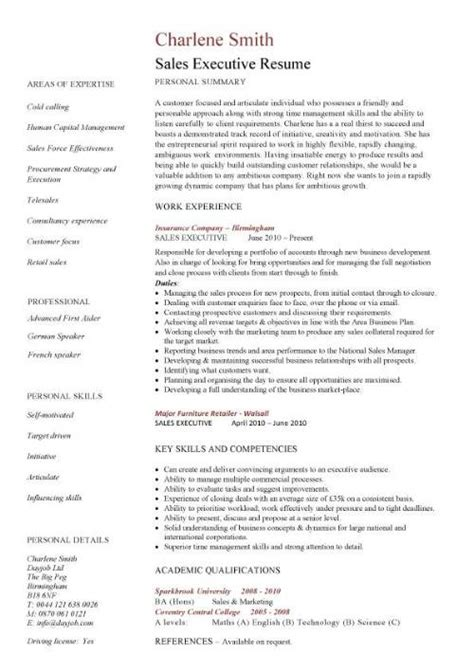 Executive Level Resume Sles by Sales Executive Resume