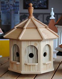 Large Wooden Octagon Bird House —Wooden Birdhouses and