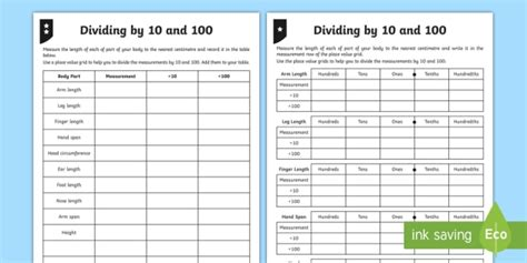 dividing by 10 and 100 differentiated worksheet activity