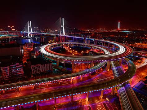 city lights of china somewhere the rainbow shanghai s nanpu bridge