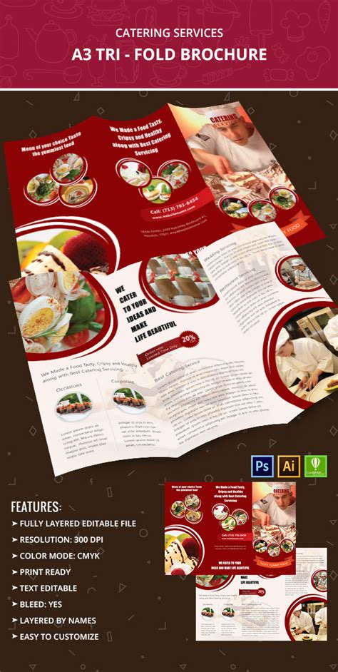 Catering Brochure Templates by Catering Services A3 Tri Fold Brochure Template Free