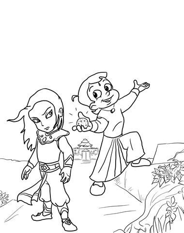 chhota bheem   throne  bali coloring page