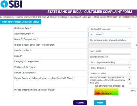 register complaint  sbi