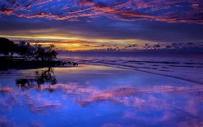 Sunset Purple Clouds Beach Amazing Wallpapers Reflection