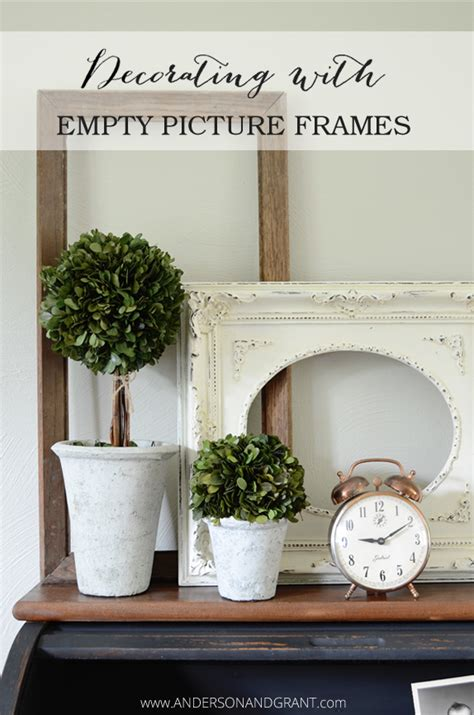 I created the picture frame gallery wall at the top of my foyer steps a while ago. 10 Ways to Decorate with Empty Thrift Store Frames | anderson + grant