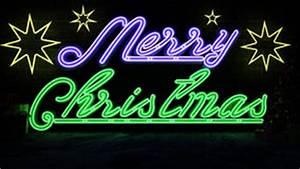 Merry Christmas Neon Lights Stock Image Image of happy
