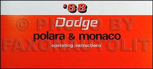 1968 Dodge Polara  Monaco  500 Repair Shop Manual Original 68