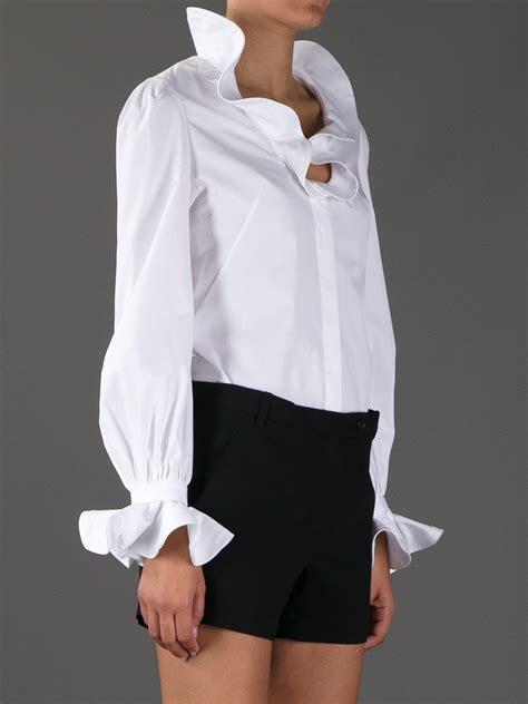 ruffled white blouse lyst mcqueen ruffled blouse in white