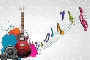 Illustration of guitar with musical notes on abstract