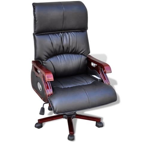 black top real leather adjustable office chair