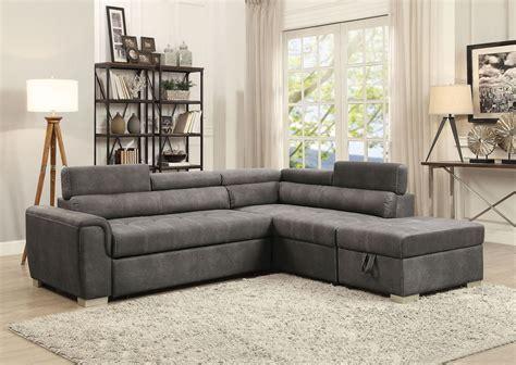 Thelma Gray Polished Sectional Sleeper Sofa With Ottoman