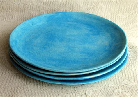 made plates set of four handmade ceramic stoneware by lesliefreemandesigns