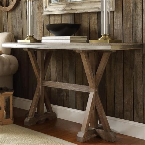 rustic entryway table abbott rustic stainless steel oak trestle brown