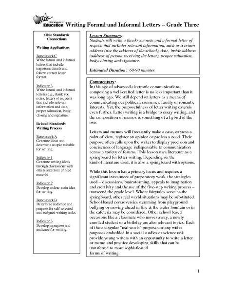 writing formal  informal letters lesson plan