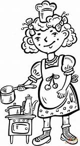 Coloring Chef Kitchen Playing Child Printable Hopscotch Chefs Supercoloring Printables Drawing sketch template