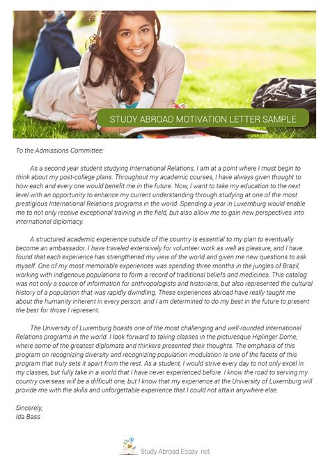 study abroad motivation letter sle study abroad
