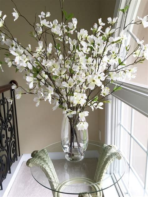 Beautiful Dogwood branches in large glass vase by