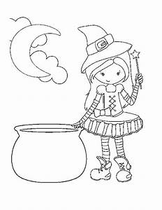 Pretty Halloween Witch Pages Coloring Pages