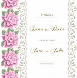 wedding invitation card with flower vintage vector 01 With vintage flowers wedding invitations vector