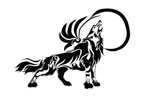 tribal wolf  moon