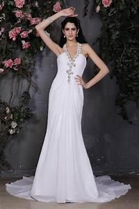 sheath column halter sleeveless beading ruffles long With hebeos wedding dresses