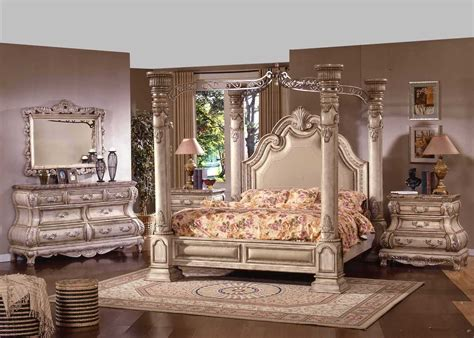 Antique White Bedroom Sets by The New Opera Traditional Four Post White Wash Wood King