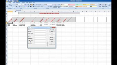 create  data input form  excel