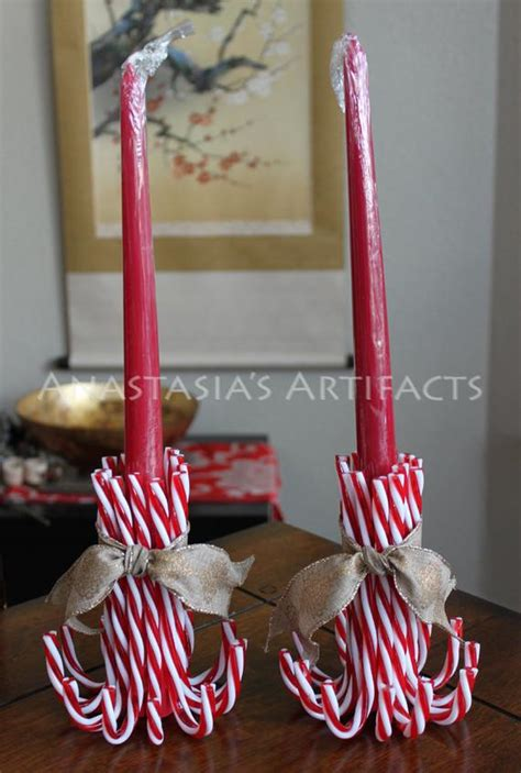 pair reusable candy cane candle holders choose  ribbon