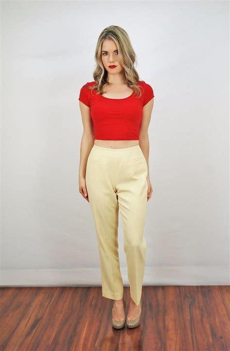 wide leg vtg 70s yellow wide leg trouser boho mod high waist
